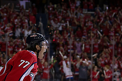 Washington Capitals right wing T.J. Oshie (77) celebrates after scoring during the 1st period of the game between the Bruins and Washington Capitals at Capital One Arena in Washington, D.C. on October 3, 2018.