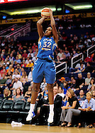 Sep 11, 2011; Phoenix, AZ, USA; Minnesota Lynx forward Rebekkah Brunson (32) puts up a shot against the Phoenix Mercury during the first half at the US Airways Center.  The Lynx defeated the Mercury 96-90. Mandatory Credit: Jennifer Stewart-US PRESSWIRE