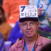 A delegate shows his oppostition to Sen. McCain's position on the second day of the Democratic National Committee (DNC) Convention at the Pepsi Center in Denver, Colorado (CO) Tuesday, Aug. 26, 2008.  ..Photo by Khue Bui