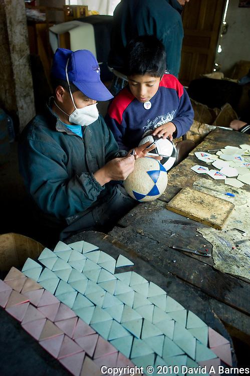 Soccer or football factory, cooperative industry, Salinas de Guaranda, Ecuador