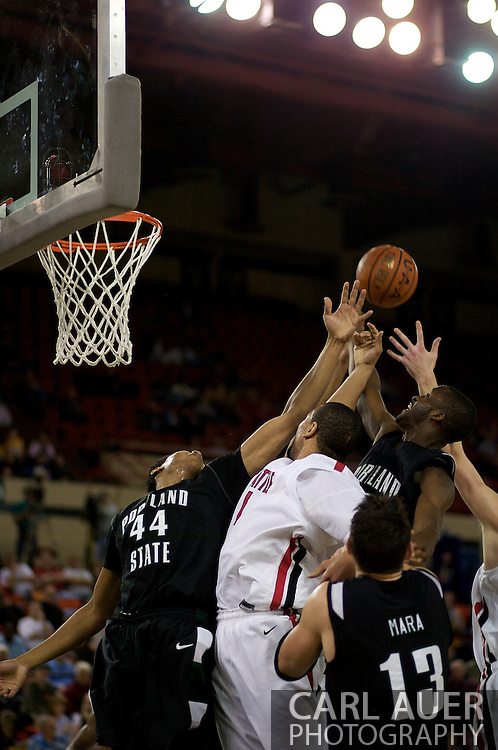 November 29th, 2008:  Anchorage, Alaska - Portland State and Seattle University battle for a rebound in the third place game on the final day of the Great Alaska Shootout.