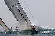 Emirates Team New Zealand NZL92 punches through the chop on approach to the first mark rounding in race seven of the Louis vuitton Cup semi final against Desafio Espanol ESP97. 23/5/2007