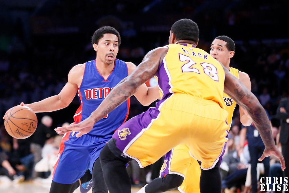 10 March 2015: Detroit Pistons guard Spencer Dinwiddie (8) drives past Los Angeles Lakers guard Jordan Clarkson (6) during the Los Angeles Lakers 93-85 victory over the Detroit Pistons, at the Staples Center, Los Angeles, California, USA.