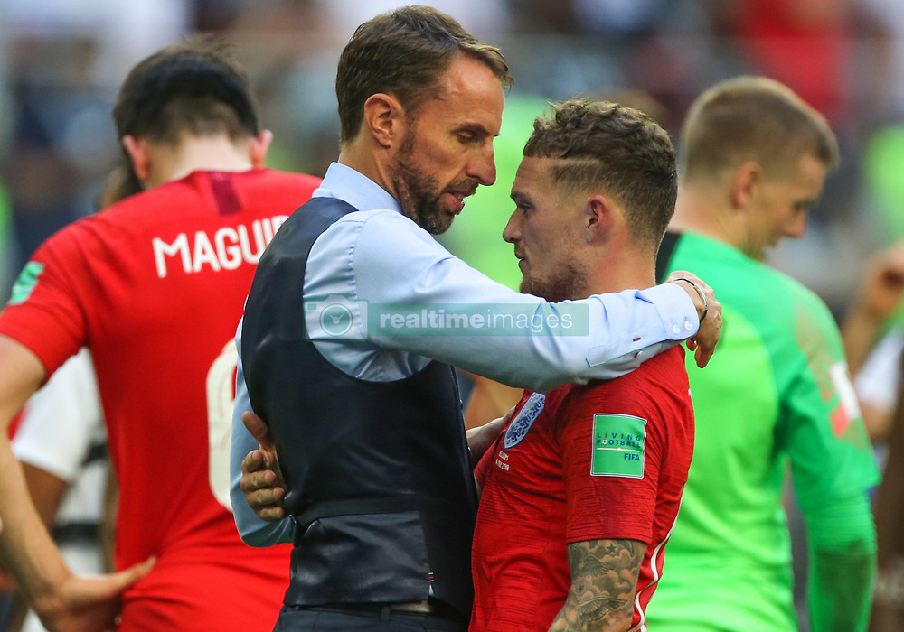 July 14, 2018 - Saint Petersburg, Russia - Head Coach Gareth Southgate and Kieran Trippier of the England national football team reacts after the 2018 FIFA World Cup Russia 3rd Place Playoff match between Belgium and England at Saint Petersburg Stadium on July 14, 2018 in St. Petersburg, Russia. (Credit Image: © Igor Russak/NurPhoto via ZUMA Press)
