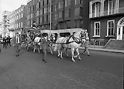 St Patrick's Day Parade.1982.17/03/1982.03.17.1982.17th March 1982..On its way through Dublin,.Image of the coach as it turns onto St Stephens'Green on its way to the viewing stand in O'Connell St..