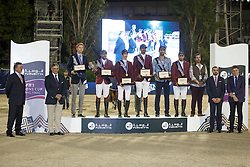 Team Qatar, Sheik Al Thani All Bin Khalid, Al Emadi Khalid Mohamed,Al Rumaihi All Yousef, Mohammed Bassem Hassan, Meeus Willem , FEI President<br /> Logines Challenge Cup<br /> Furusiyya FEI Nations Cup Jumping Final - Barcelona 2015<br /> © Dirk Caremans<br /> 25/09/15