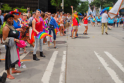 United States, Washington, Seattle Gay Pride Parade, June 28th, 2015. Spectators along parade route.