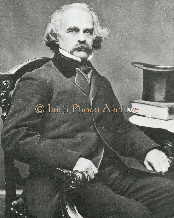 'Nathaniel Hawthorne (1804-1864) in 1860, American novelist and short story writer. His best remembered works are the novel ''The Scarlet Letter'', 1850, and ''Tanglewood Tales'', 1853.  Portrait photograph.'