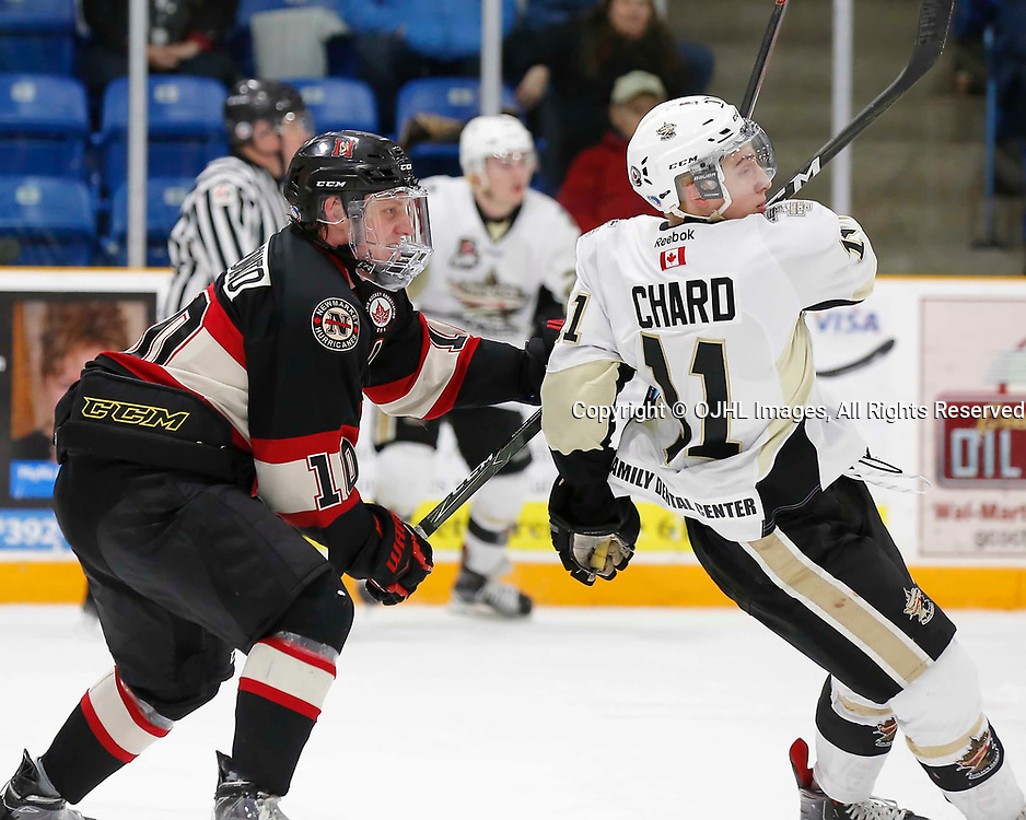 TRENTON, ON - MAR 7,  2017: Ontario Junior Hockey League, playoff game between the Trenton Golden Hawks and the Newmarket Hurricanes., Christian Dedonato #10 of the Newmarket Hurricanes high sticks Jordan Chard #11 of the Trenton Golden Hawks<br /> (Photo by Amy Deroche / OJHL Images)