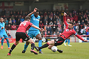 Barnet Defender, Ricardo Santos (5) tackled by Morecambe Defender, Michael Rose (24)  during the EFL Sky Bet League 2 match between Morecambe and Barnet at the Globe Arena, Morecambe, England on 28 April 2018. Picture by Mark Pollitt.