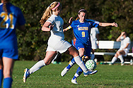 Rice's Sarah Boland (16) and Milton's Adrianna Desranleau (9) battle for the ball during the girls soccer game between the Milton Yellowjackets and the Rice Green Knights at Rice Memorial High School on Saturday afternoon October 3, 2015 in South Burlington. (BRIAN JENKINS/ for the FREE PRESS)