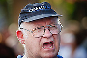 Sept. 10, 2008 -- PHOENIX, AZ: A man cheers for Barack Obama during an Obama campaign rally in Phoenix Wednesday. The Barack Obama presidential campaign opened an office in Phoenix Wednesday just five miles from the home of Republican presidential candidate John McCain. About 400 Obama supporters came the opening.   Photo by Jack Kurtz