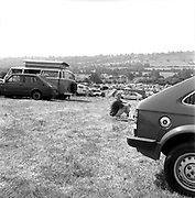 Car park on a hill, at Glastonbury, 1989.