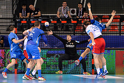 Urban Lesjak of Celje PL during handball match between Meshkov Brest and RK Celje Pivovarna Lasko in bronze medal match of SEHA- Gazprom League Final 4, on April 15, 2018 in Skopje, Macedonia. Photo by  Sportida