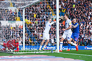 Patrick Bamford of Leeds United (9) and Pontus Jansson of Leeds United (18) react to Ezgjan Alioski of Leeds United (10) scoring a goal to make the score 2-1 during the EFL Sky Bet Championship match between Leeds United and Bolton Wanderers at Elland Road, Leeds, England on 23 February 2019.