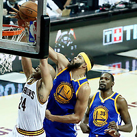 09 June 2017: Cleveland Cavaliers forward Richard Jefferson (24) is fouled by Golden State Warriors center JaVale McGee (1) during the Cleveland Cavaliers 137-11 victory over the Golden State Warriors, in game 4 of the 2017 NBA Finals, at  the Quicken Loans Arena, Cleveland, Ohio, USA.