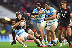 November 11, 2017 - London, England, United Kingdom - England's Elliot Daly is tackled by Argentina's Martin Landajo during Old Mutual Wealth Series between England against Argentina at Twickenham stadium , London on 11 Nov 2017  (Credit Image: © Kieran Galvin/NurPhoto via ZUMA Press)