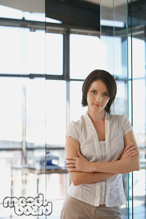 Young woman in office front view portrait.