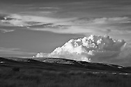 Rattlesnake Slope Wildlife Area.  Infrared (IR) photograph of desert scene with large cloud.  Landscape photography by Michael Kloth. Black and white infrared photographs