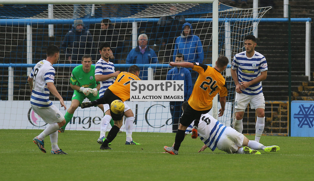 Onloan Signing Eamonn Brophy (24) tries his luck during the Morton FC v Dumbarton FC  FC Scottish Championship 12th September 2015 <br /> <br /> (c) Andy Scott | SportPix.org.uk