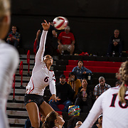 09 November 2017:  The San Diego State Aztecs women's volleyball team hosts UNLV Thursday night at Peterson Gym. San Diego State outside hitter Ashlynn Dunbar (6) this the ball over the net against UNLV. The Aztecs won 3-1 (25-18; 16-25; 25-12; 25-13).<br /> www.sdsuaztecphotos.com