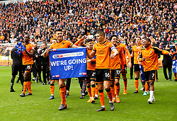 Free to use courtesy of Sky Bet - Danny Batth of Wolverhampton Wanderers and Conor Coady of Wolverhampton Wanderers lead the celebrations after their side seal promotion to the Premier League - Mandatory by-line: Robbie Stephenson/JMP - 15/04/2018 - FOOTBALL - Molineux - Wolverhampton, England - Wolverhampton Wanderers v Birmingham City - Sky Bet Championship