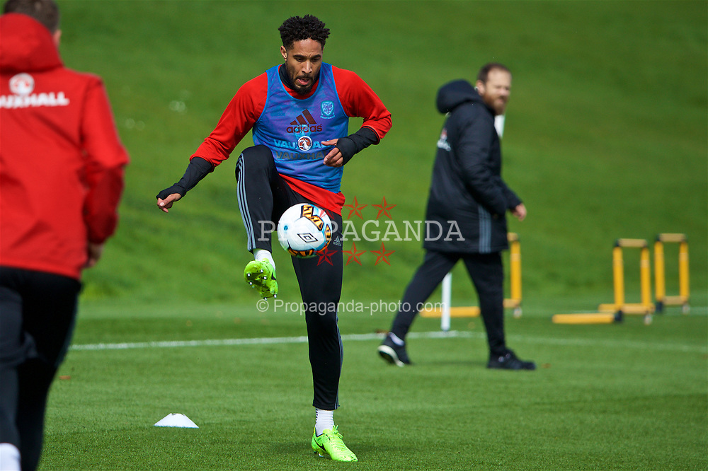 CARDIFF, WALES - Tuesday, March 21, 2017: Wales' captain Ashley Williams during a training session at the Vale Resort ahead of the 2018 FIFA World Cup Qualifying Group D match against Republic of Ireland. (Pic by David Rawcliffe/Propaganda)