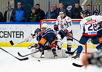 2020-01-22   Kallinge, Sweden: Kaos infront of Halmstad Hammers cage during the game between Krif hockey and Halmstad Hammers at Soft Center Arena (Photo by: Jonathan Persson   Swe Press Photo)<br /> <br /> Keywords: kallinge, Ishockey, Icehockey, hockeyettan, allettan södra, soft center arena, krif hockey, halmstad hammers (Match code: krhh200122)