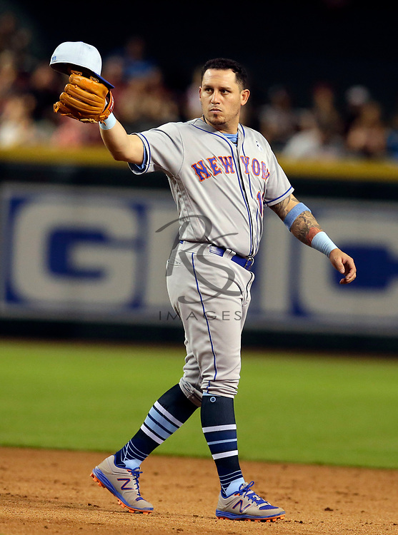 New York Mets second baseman Asdrubal Cabrera (13) in the first inning during a baseball game against the Arizona Diamondbacks, Sunday, June 17, 2018, in Phoenix. (AP Photo/Rick Scuteri)
