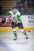 KELOWNA, CANADA - DECEMBER 6: Matteo Gennaro #21 of Prince Albert Raiders skates during warm up against the Kelowna Rockets on December 6, 2014 at Prospera Place in Kelowna, British Columbia, Canada.  (Photo by Marissa Baecker/Shoot the Breeze)  *** Local Caption *** Matteo Gennaro;