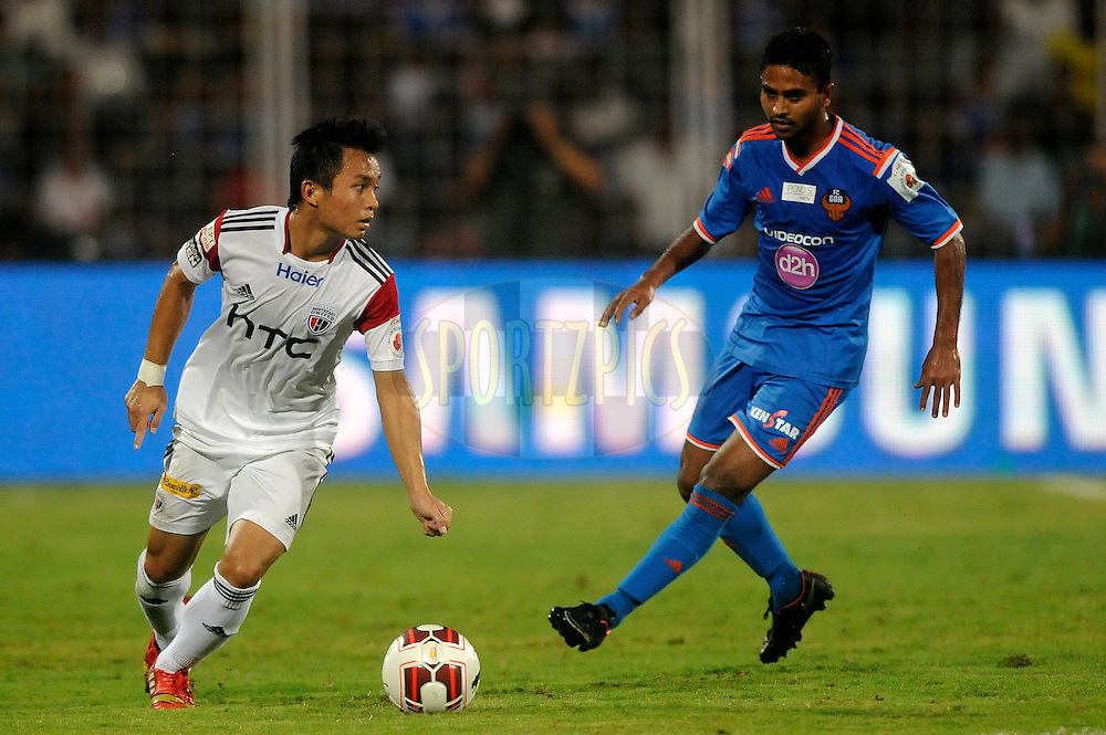 Zodingliana of NorthEast United FC during match 46 of the Hero Indian Super League between FC Goa and North East United FC held at the Jawaharlal Nehru Stadium, Fatorda, India on the 1st December 2014.<br /> <br /> Photo by:  Pal Pillai/ ISL/ SPORTZPICS