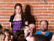 "Jene Rebbin Shaw (standing) during Mayhem & Mystery's production of ""Tragedy in the Theater"" at the Spaghetti Warehouse in downtown Dayton, Monday, February 28, 2011."