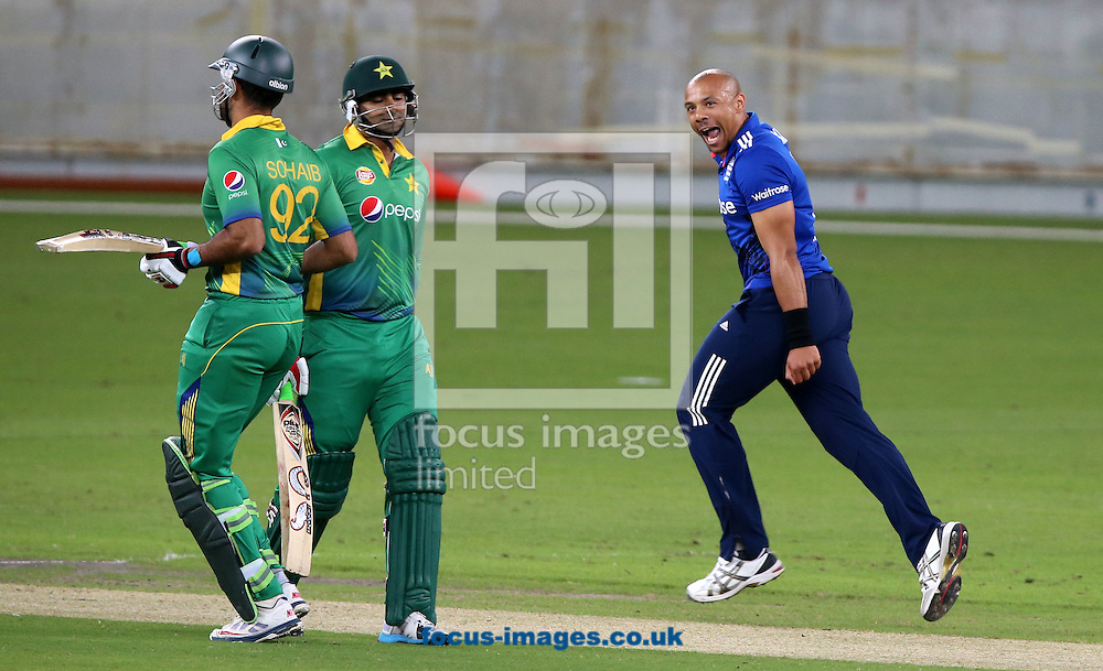 Tymal Mills of England Lions takes the wicket of Shahzaib Hasan (M) of Pakistan A during the International Twenty/20 match at Dubai International Cricket Stadium, Dubai<br /> Picture by Chris Whiteoak-Medcalf/Focus Images Ltd +971 8117530<br /> 10/12/2015
