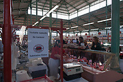 """Rennes, FRANCE. General View GV. Rennes weekly regional market. Brittany,<br /> <br /> """"Different Air Dried meats and Sausages"""", sold from stalls in the open and covered market  <br /> <br /> Saturday  26/04/2014 <br /> <br /> © Peter SPURRIER, <br /> <br /> NIKON CORPORATION  NIKON D700  f6.3  1/320sec  24mm  7.7MB"""