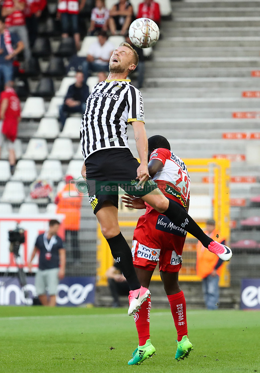July 29, 2017 - Charleroi, BELGIUM - Charleroi's David Pollet and Kortrijk's Brian Verboom fight for the ball during the Jupiler Pro League match between Sporting Charleroi and KV Kortrijk, in Charleroi, Saturday 29 July 2017, on the first day of the Jupiler Pro League, the Belgian soccer championship season 2017-2018. BELGA PHOTO VIRGINIE LEFOUR (Credit Image: © Virginie Lefour/Belga via ZUMA Press)
