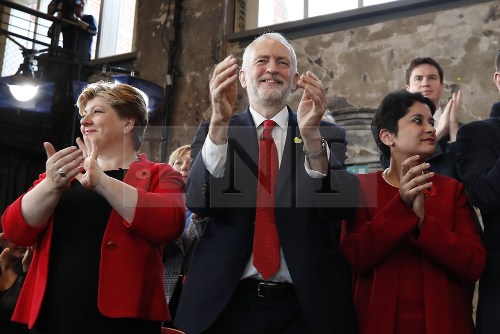 © Licensed to London News Pictures. 31/10/2019. London, UK. Labour Party Leader Jeremy Corbyn speaks to supporters at Battersea Arts Centre during an election campaign rally. Photo credit: Peter Macdiarmid/LNP
