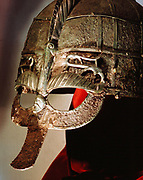 Anglo-Saxon helmet part of the Sutton Hoo treasure excavated near Woodbridge, Suffolk, England, 1939. British Museum