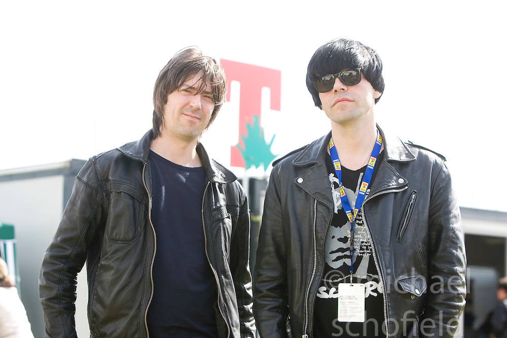 Mark Collins & Tim Burgess of the Charlatans backstage on Sunday, T in the Park, 12th July 2008..T in the Park 2008 festival took place on the Friday 10th July, Saturday 11th July and Sunday 12th July, at Balado, near Kinross in Perth and Kinross, Scotland..Pic ©Michael Schofield. All Rights Reserved..
