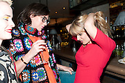 ROSIE VOGEL;  EMMA ELWICK-BATES, Leaving dinner for Kate Phelan given by Alex Shulman and Mary Homer. Riding House Cafe. Great Titchfield st. London. 20 September 2011. <br /> <br />  , -DO NOT ARCHIVE-© Copyright Photograph by Dafydd Jones. 248 Clapham Rd. London SW9 0PZ. Tel 0207 820 0771. www.dafjones.com.