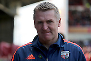 Head Coach Dean Smith during the Sky Bet Championship match between Nottingham Forest and Brentford at the City Ground, Nottingham, England on 2 April 2016. Photo by Chris Wynne.