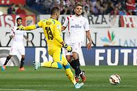 Sevilla´s Carrico and goalkeeper Beto during 2014-15 La Liga match at Vicente Calderon stadium in Madrid, Spain. September 27, 2014. (ALTERPHOTOS/Victor Blanco)