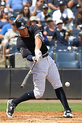 March 18, 2018 - Tampa, FL, U.S. - TAMPA, FL - MAR 18: Aaron Judge (99) of the Yankees at bat during the game between the Miami Marlins and the New York Yankees on March 18, 2018, at George M. Steinbrenner Field in Tampa, FL. (Photo by Cliff Welch/Icon Sportswire) (Credit Image: © Cliff Welch/Icon SMI via ZUMA Press)