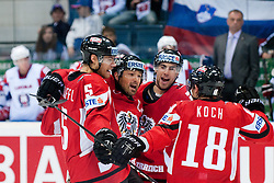 Team Austria celebrate goal during the ice-hockey match between Austria and Slovenia of Group G in Relegation Round of IIHF 2011 World Championship Slovakia, on May 7, 2011 in Orange Arena, Bratislava, Slovakia (Photo by Matic Klansek Velej / Sportida)