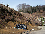 Black sacks containing radiation-contaminated soil, leaves, wood chippings and other debris, sit by the side of the road near Litate village, Japan. The clean up operation is also targeting forested areas within 65 feet of homes, with trees occasionally being felled.