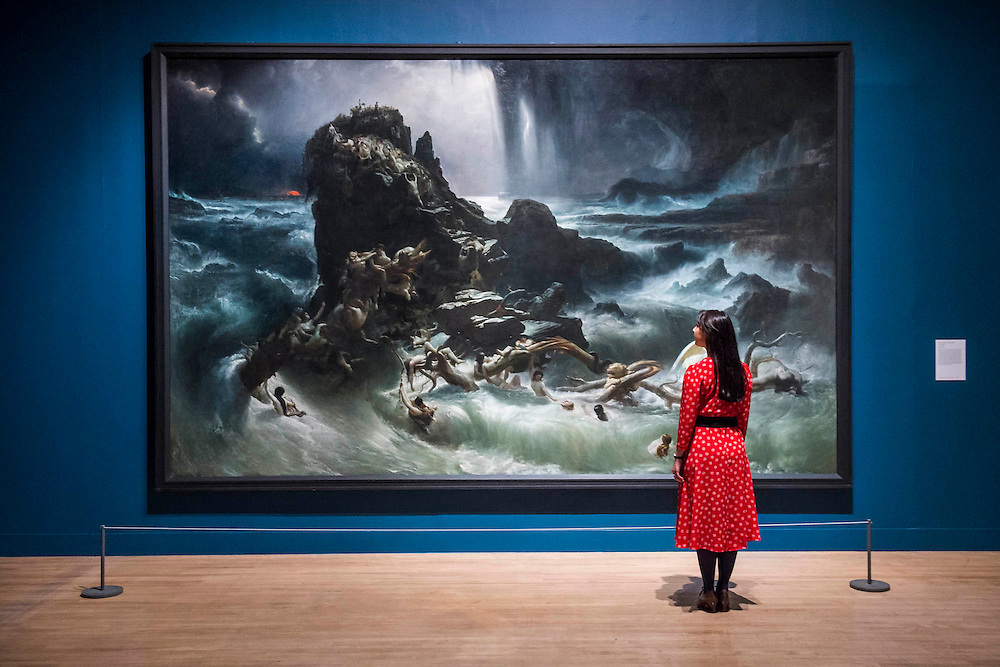 Francis Danby, The Deluge, 1840 - Fighting History, an exhibition celebrating the enduring significance and emotional power of British history painting at the Tate Britain. The exhibition looks at how artists have transformed significant events into paintings that encourage us to reflect on our own place in history. The works in the show range from huge oil paintings from the 18th century to a recent work by Malcolm Morley which includes a canon from HMS Victory protruding from the canvas. Highlights include: John Singleton Copley's The Death of Major Peirson, 6 January 1781 1783, a dramatic battle scene which is approximately 4 metres wide by 3 metres high; Dexter Dalwood's famous work The Poll Tax Riots 2005 which shows a sea of angry protesters surging down Whitehall towards Big Ben; Allen Jones' The Battle of Hastings 1961-2 juxtaposed with Philip James de Loutherbourg's The Battle of the Nile 1800; Malcolm Morley's Trafalgar – Waterloo 2013, a large triptych depicting Admiral Lord Nelson and the Duke of Wellington separated by a 3D cannon from the HMS Victory in the central panel. Fighting History is at Tate Britain from 9 June to 13 September 2015.