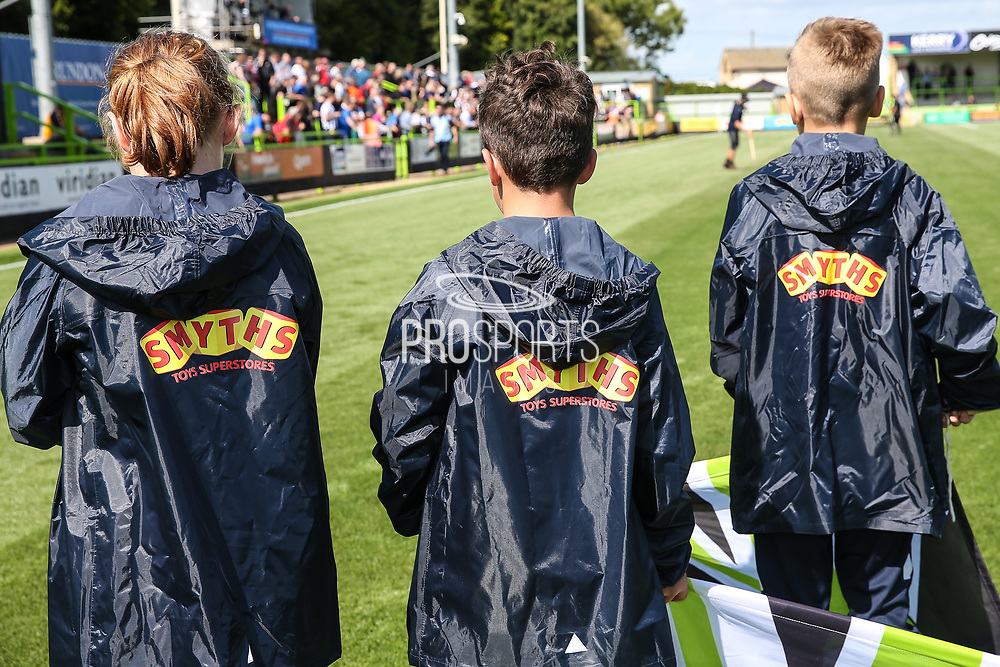 Ballboy\girl jackets during the EFL Sky Bet League 2 match between Forest Green Rovers and Grimsby Town FC at the New Lawn, Forest Green, United Kingdom on 17 August 2019.