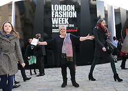 Jenni Murray outside the Somerset House tent  at London Fashion Week , Sunday, 16th February 2014. Picture by Stephen Lock / i-Images