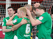 Picture by David Horn/Focus Images Ltd +44 7545 970036.27/04/2013.Doncaster Rovers players celebrate during the npower League 1 match at Griffin Park, London.