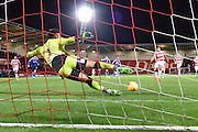Tommy Lee of Chesterfield FC saves Nathan Tyson of Doncaster Rovers penalty during the Sky Bet League 1 match between Doncaster Rovers and Chesterfield at the Keepmoat Stadium, Doncaster, England on 24 November 2015. Photo by Ian Lyall.
