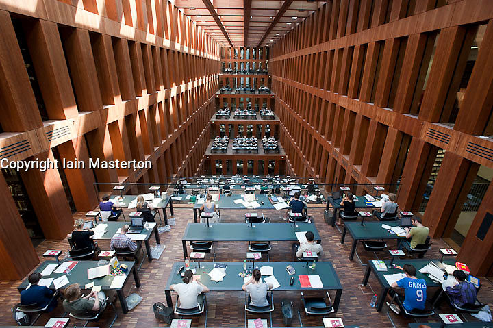 Interior of new library of Humboldt University in Berlin Germany